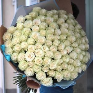 Высокие букет 101 белая роза 80-90 см R1961