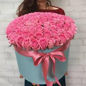 101 розовая роза с оформлением R2104
