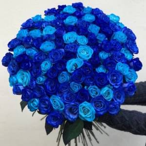 Букет 101 синяя и голубая роза с оформлением R1999