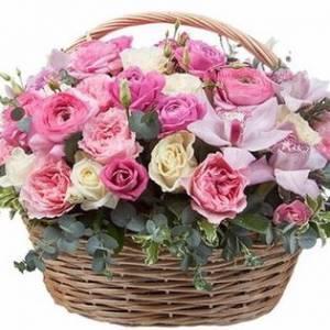 Сборная корзина, розы с орхидеями R943