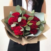 Букет 11 красных роз с упаковкой R534