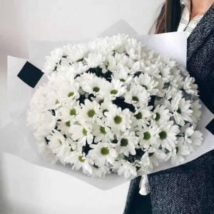 25 веток белых хризантем в упаковке R132